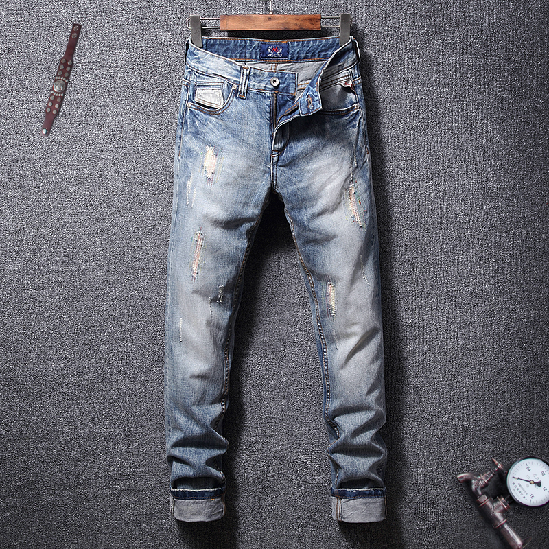 Fashion Streetwear Men Jeans Retro Blue Slim Fit Embroidery Ripped Patchwork Hip Hop Pants Classical
