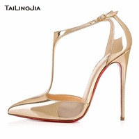 Gold Shiny Patent Leather Woman Pumps High Heel Red Sole Poited Toe Ladies Sexy Party Wedding Dress Shoes Women Pumps Wholesale