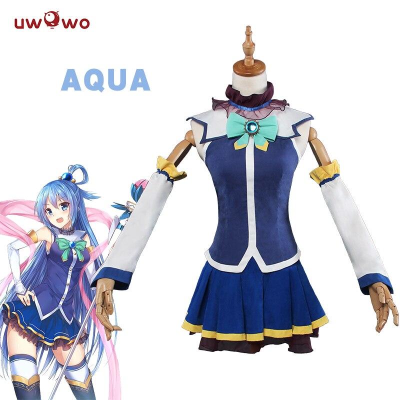 UWOWO Aqua Косплей KonoSuba Божье благословение на этом чудесном мире Костюм Аниме KonoSuba Косплей Aqua женское платье костюм