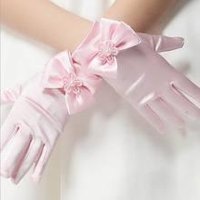 Перчатки для детей от 4 до 8 лет; Хорошие эластичные Сатиновые короткие перчатки с бантом и жемчугом для девочек; детские перчатки с цветочным узором для девочек; подарок для детей