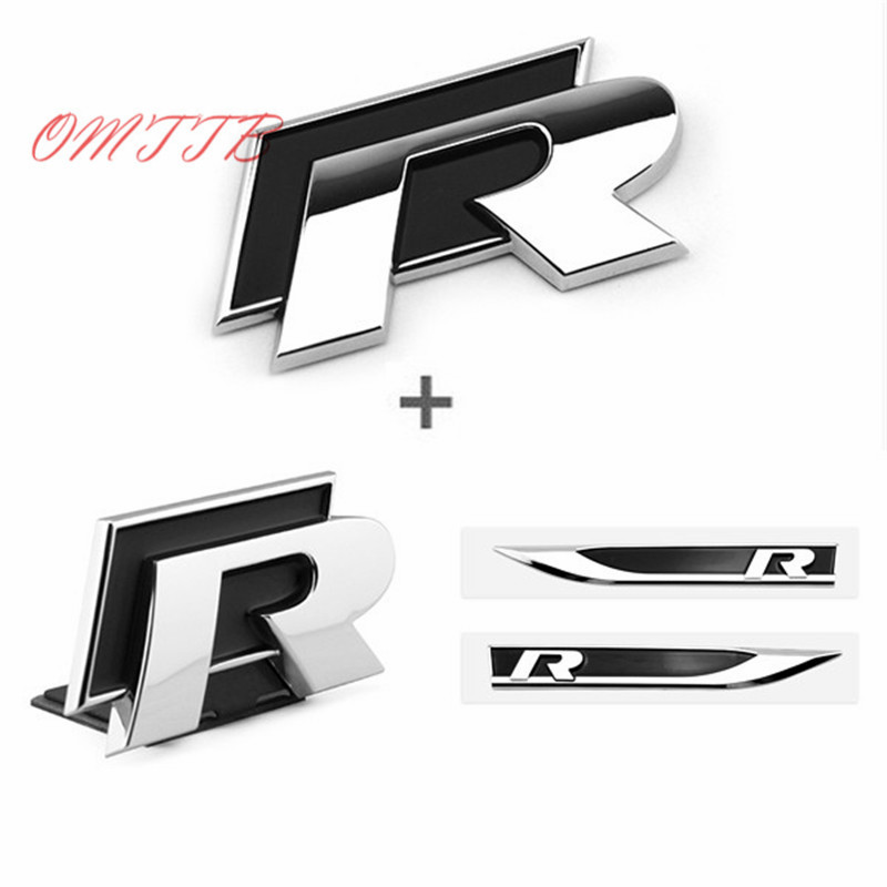 1set 3D Metal Side Wing Badge Emblem Fender R Rline Car Sticker for volkswagen VW Polo Jetta Golf 5 6 Tiguan Passat Car Styling 1pc used eurotherm t140 channel digital input 8 euro