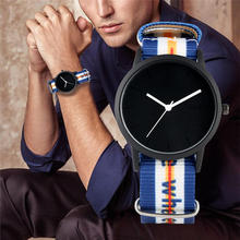 купить 2019 Fashion Mens Watch Quartz Analog Colorful Nylon Band Wristwatch Simple No Digital Dial Male GIft relojes para hombre дешево
