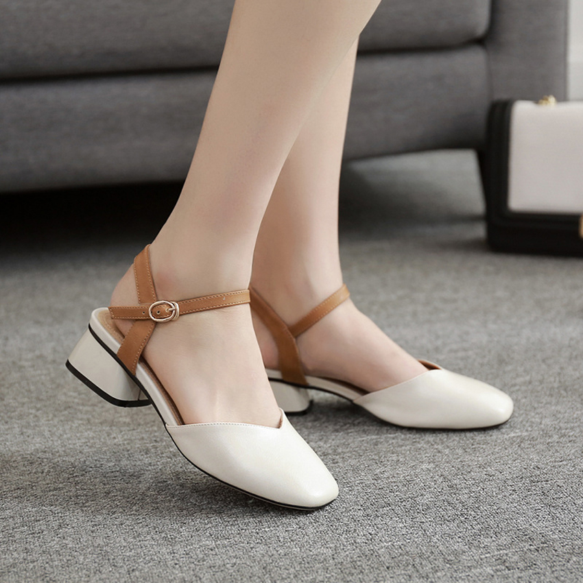 2019 Fashion Women Sandals Mid Heels Sandals Summer Beige/Yellow/Pink Female Shoes Casual Lady Shoes Woman Footwear
