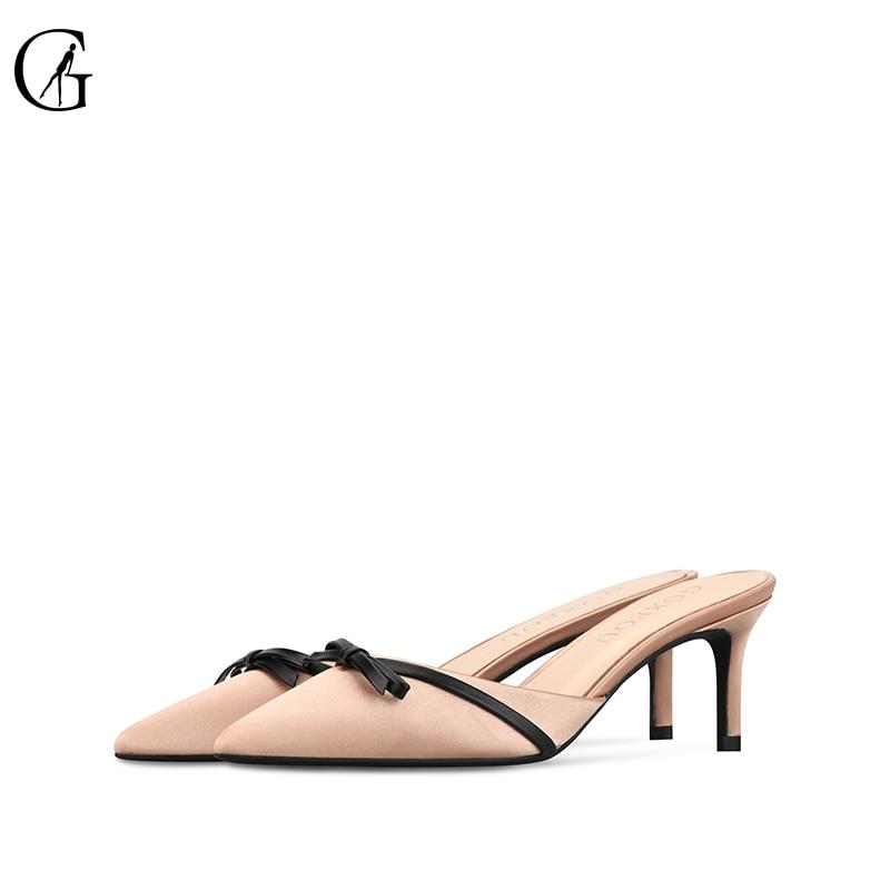 GOXEOU Women Pumps 2019 Pointed Toe Slip On Ladies Shoe Kitten heel Nude color Fashion Butterfly