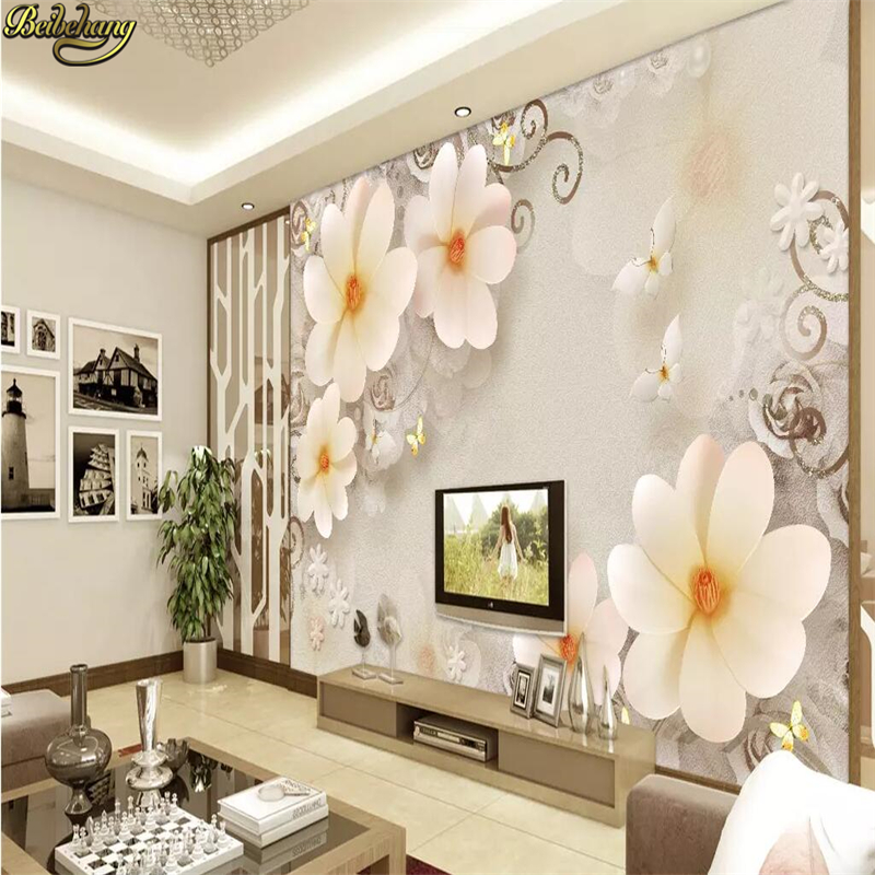 beibehang Embossed Magnolia Pearl Nordic Jewelry wall papers home decor 3d flooring wallpaper for living room home improvement Home Improvement