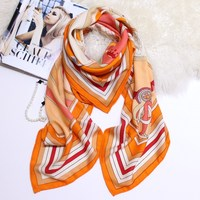 Pure Silk Cashmere Scarf Winter Thick Herringbone Pattern Horse Scarves Shawls Wraps Warm Soft Luxury Brand Design 140*140cm