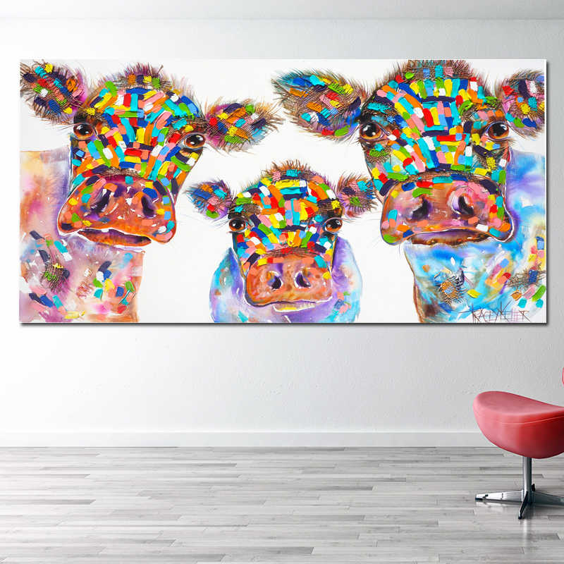 SELFLESSLY Watercolor Canvas Painting Cow Family Wall Art Poster Prints Decorative Animal Pictures For Living Room Unframed