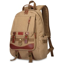 K923 High grade men and women canvas casual bag male personality schoolbags backpack