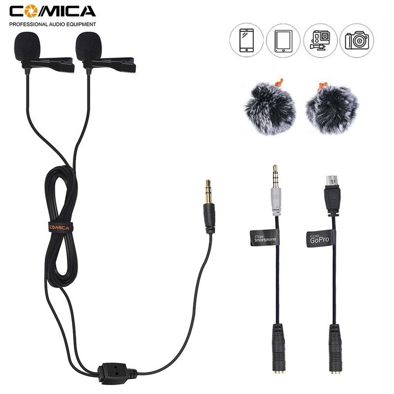 Comica CVM-D02 Dual Lavalier Lapel Microphone Clip-on Interview Mic For IPhone Android Smartphone For Sony Canon Nikon Cameras