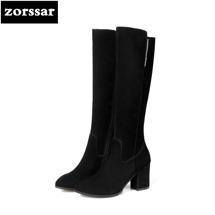 {Zorssar} 2019 New Winter Plush Female Snow boots Fashion Thigh High Boots Cow Suede Leather Thick heel Women Knee High boots ryvba woman knee high snow boots fashion thick plush warm thigh high boots winter boots for women shoes womens female sexy flats