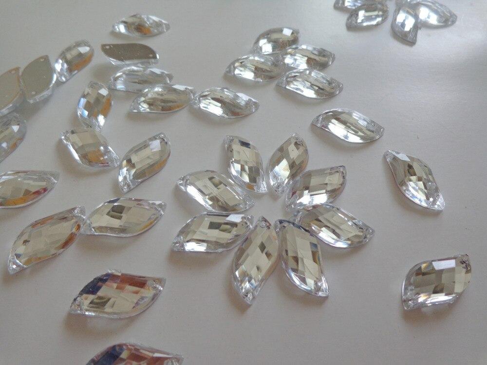 S форма 9*20 мм Серебряный Акриловые Кристалл пришить стразы драгоценный камень Flatback 100 шт./лот