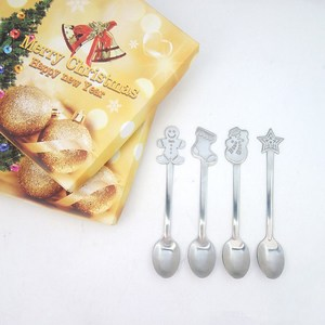 Image 5 - 4pcs Christmas Style Teaspoon Christmas Cutlery Flatware Decoration Accessories Stainless Steel Coffee Dessert Ice  Spoon