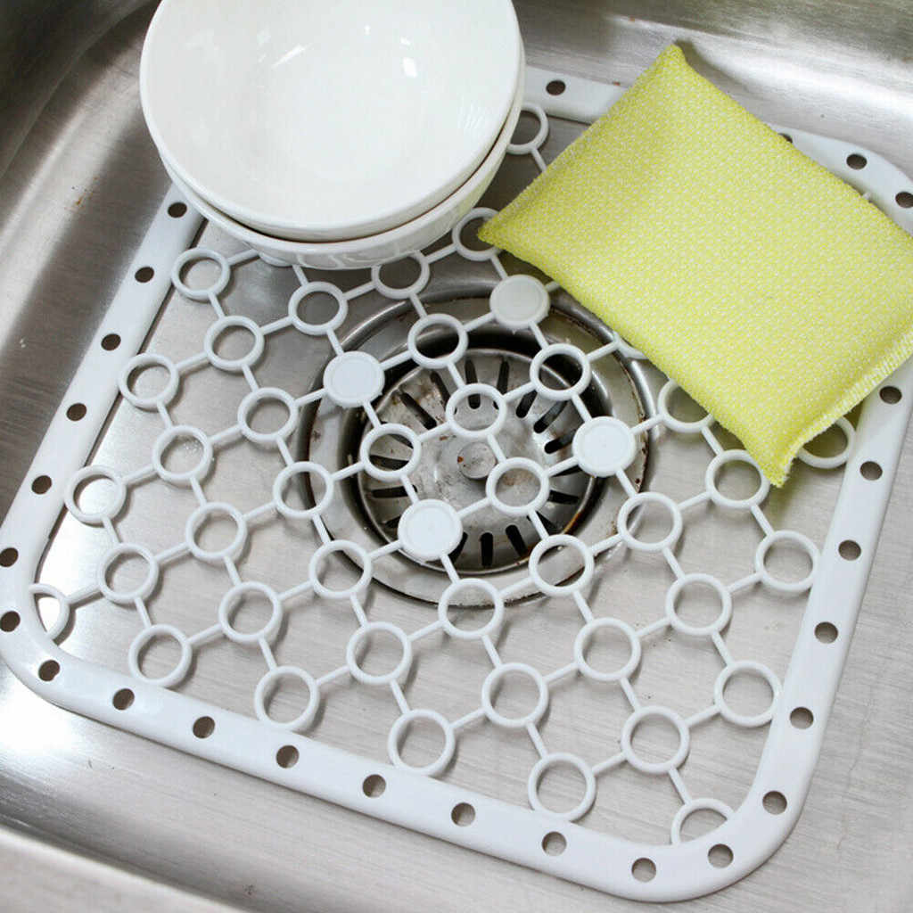 26X26cm Kitchen Silicone Table Placemat Vegetables Dishes Sink Drying Rack Draining Board Mat Big Grids Kitchen Insulation Pad