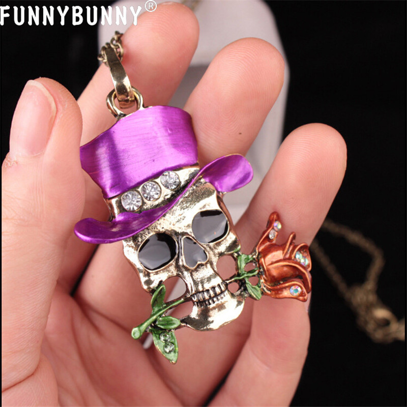 FUNNYBUNNY Women Necklaces Skull Pattern Rose Flower Magician Halloween Punk Style Pendants Party favors