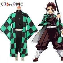Аниме Demon Slayer Kimetsu no Yaiba Tanjiro Kamado косплей костюм мужское кимоно для вечеринки на Хэллоуин