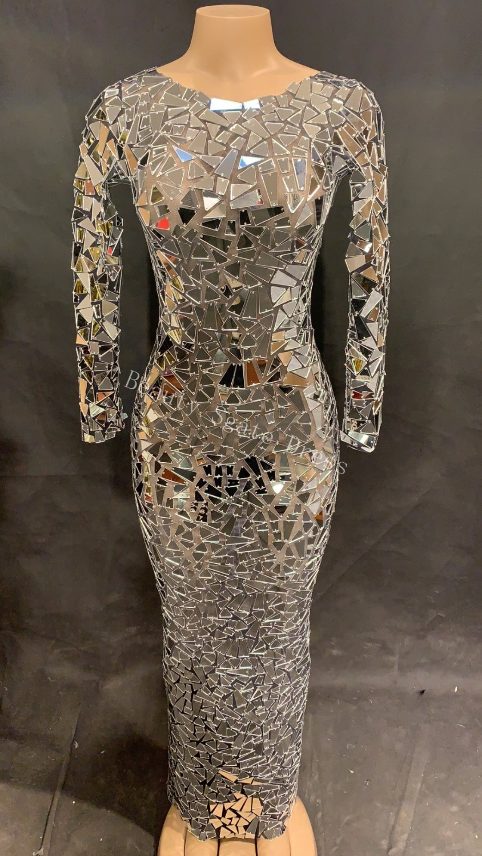 2019 femmes Sexy Net fil longue robe argent étincelle miroirs discothèque partie scène porter danseur chanteur Bling Costumes DJ DS robe