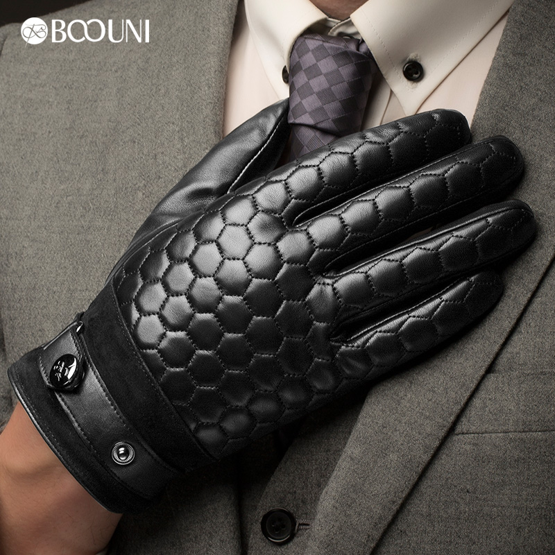 Image 2 - BOOUNI Genuine Leather Men Gloves Fashion Plaid Black Business Sheepskin Driving Glove Winter Thicken Warm Five Finger NM764-in Men's Gloves from Apparel Accessories