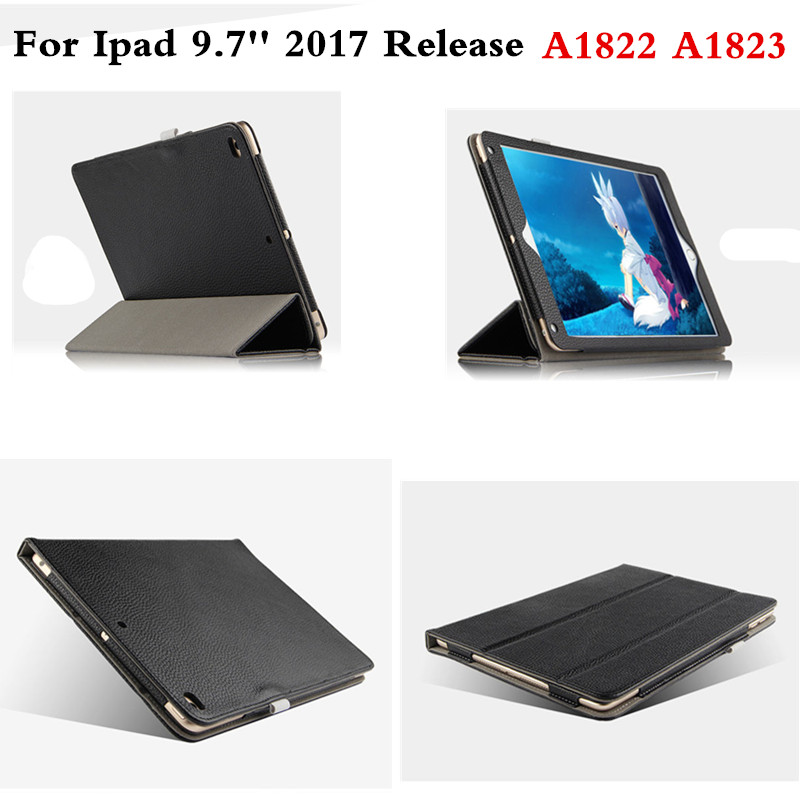 Luxury Genuine Leather Case Protector Cover Stand Book Cases Fundas For New iPad 9.7 inch 2017 Model A1822 A1823 Tablet PC case cover for goclever quantum 1010 lite 10 1 inch universal pu leather for new ipad 9 7 2017 cases center film pen kf492a