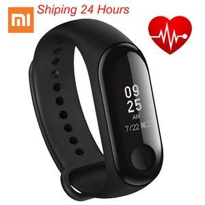 Image 1 - Bracelet Original Xiao mi bande 3 Smart mi bande 3 Bracelet OLED Touchpad Message instantané identification de lappelant moniteur de fréquence cardiaque