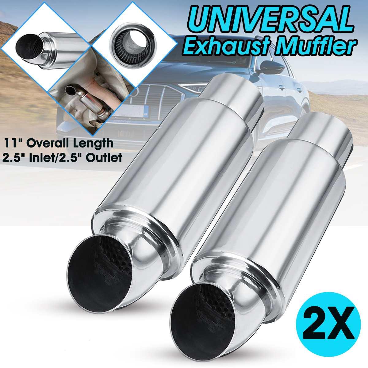 "Universal Muffler 3/"" Inlet 3 3//8/"" Outlet 12/"" Long Exhaust Round Tip Catback SS"