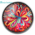 Flor de vidro D02757 itens estilos 18mm vidro Botão Snap Charme Estilos Botão rivca Botão Snap Jóias