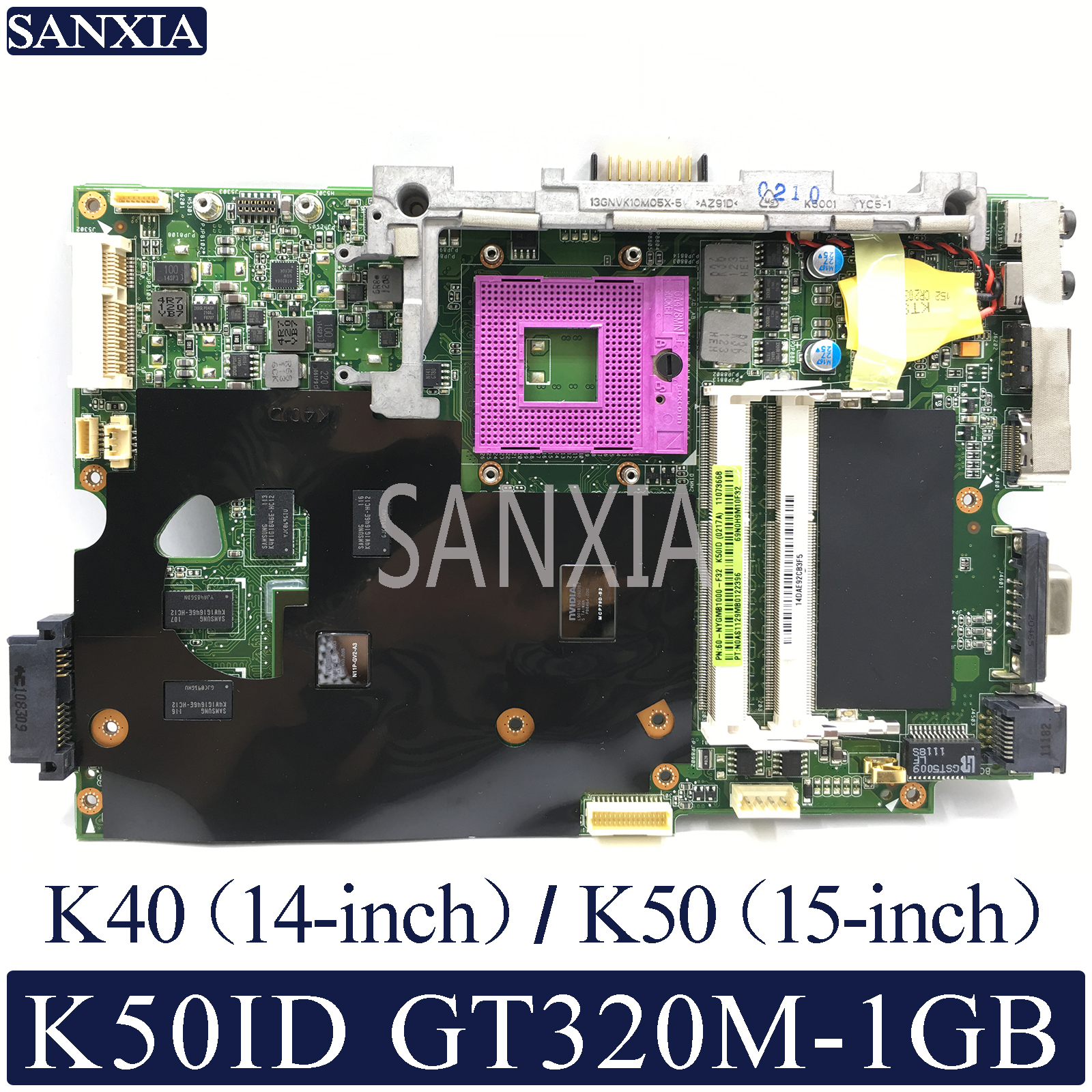 KEFU K40ID Laptop motherboard for ASUS K50ID K40IE K50IE original mainboard DDR3 RAM GT320M 1GB