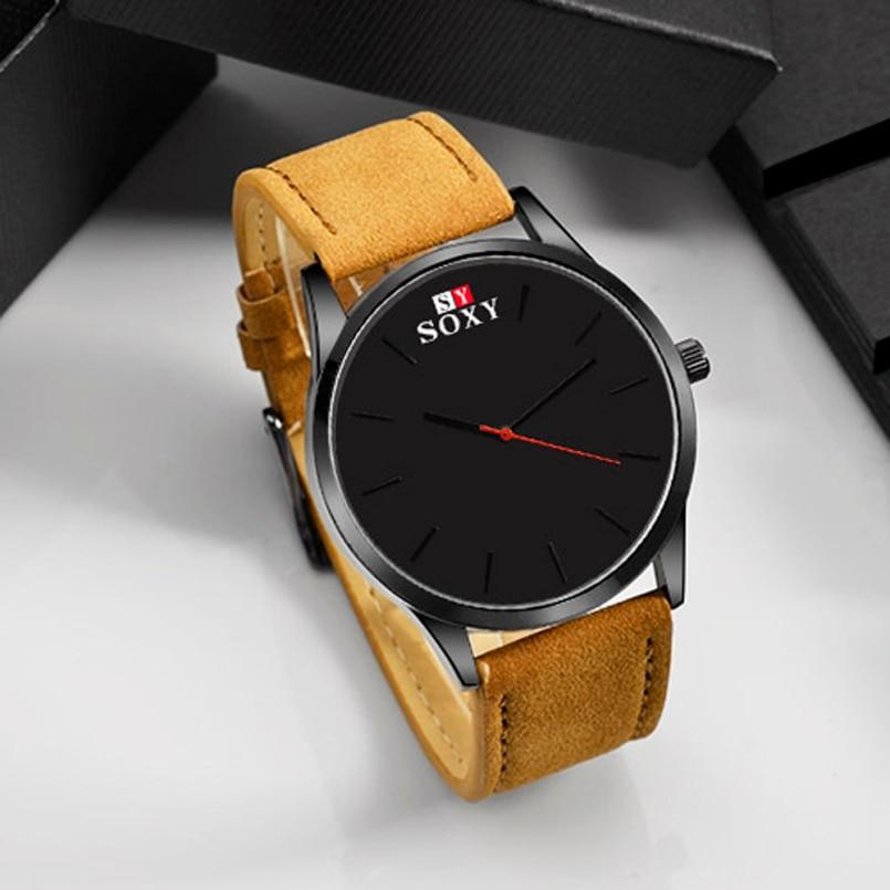 Excellent Quality New Business Quartz Watches Men Sport Military Watches Men Faux Leather Strap Army Wistwatch Clock Hours