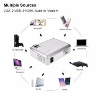 HiFi SRS Audio HD Projector 4:3/16:9 VGA HDMI USB Audio Video Home Theater Projector AU Plug