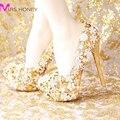 2016 Fashion Comfortable Gold Wedding Shoes Women Shoes Platform High Heels Rhinestone Bridal Shoes Handmade Genuine Leather