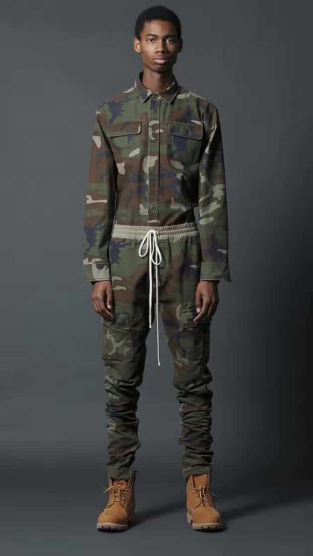 Вершины kanye west страх божий камуфляж drawstring бегун люди военная молнии лодыжки лоскут карманы камуфляж грузовые брюк