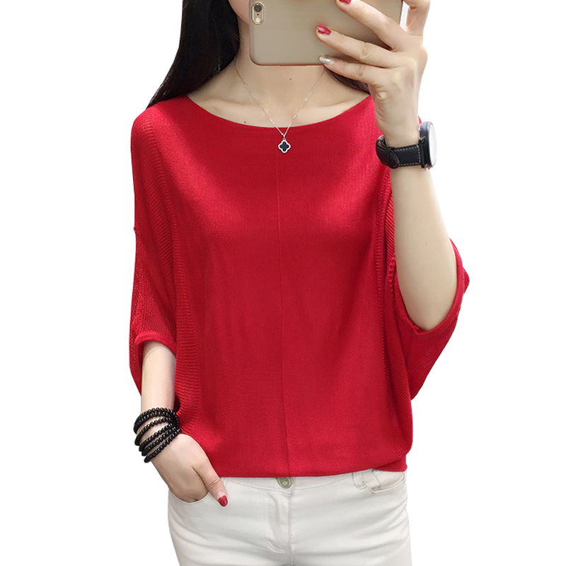Autumn Clothes Women 2018 New Korean Casual Loose Pullovers Slash Neck Batwing Half Sleeve Knitted Sweater Coat Sueter Mujer