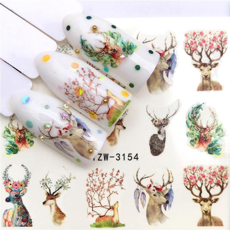 LCJ 1 шт стикер для ногтей с водной наклейкой животное цветок растение шаблон 3D Маникюр Стикер дизайн ногтей украшение - Цвет: YZW-3154