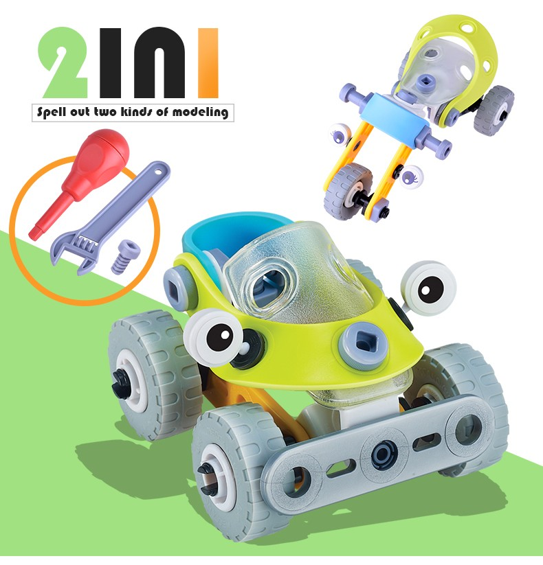 Early Learning Wheels Education DIY Screw Nut Group Installed Plastic 3D Puzzle Disassembly Motorcycle Kids Car Toys