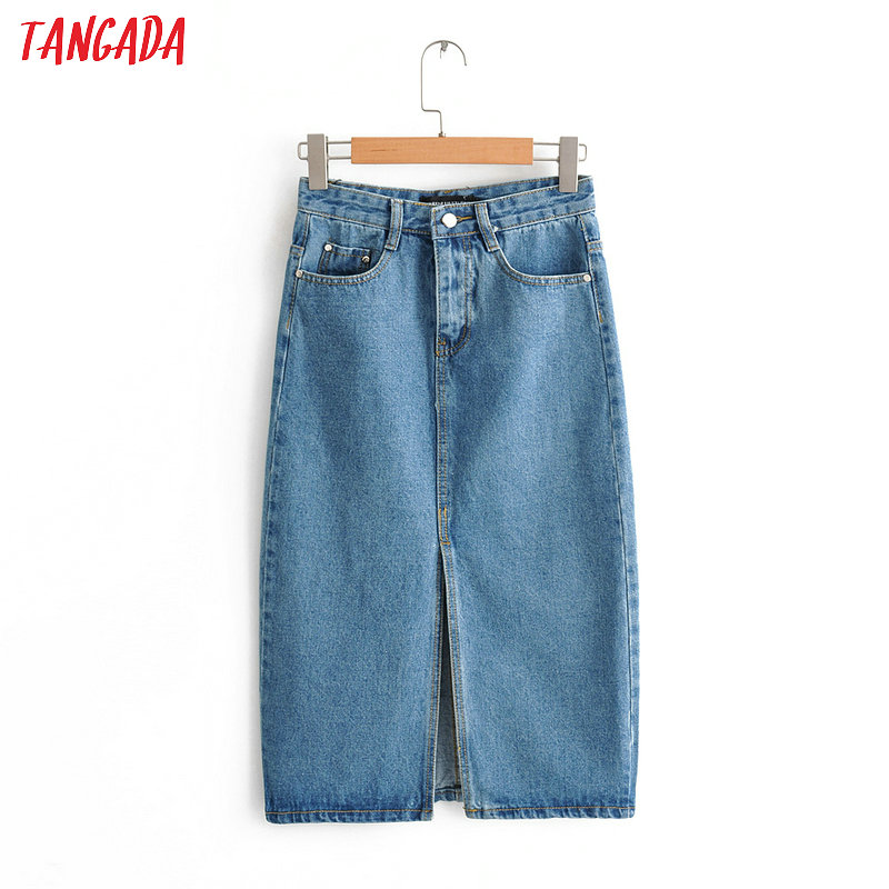 Tangada Women Sexy Denim Skirts 2019 Korea Fashion   Pocket Lady Mid Calf Skirt High Waist Vintage Skirts Female FN66