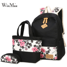 New 3 Pcs/Set  Backpacks Flower Printing Women Backpack Dot Canvas Bookbag High School Bags for Teenage Girls Travel Bag Mochila стоимость