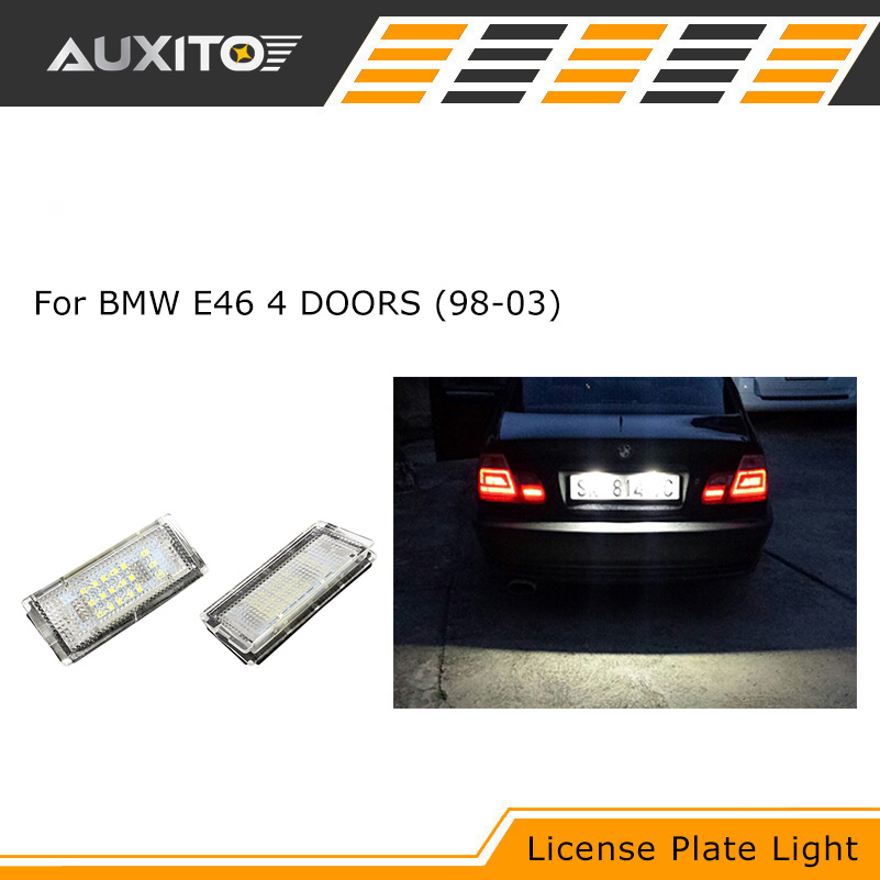 2Pcs CANBUS LED License Plate Lights 3528SMD Number Plate Light BULBS For BMW E46 4D 1998 1999 2000 2001 2002 2003 new arrival 2pcs 18 smd 3528 led license plate light lamp bulb white for bmw e46 2 door 1998 2003 12 30v free shipping