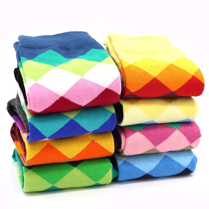 6piece 3pair Men's Long Socks for Male Gradient Color Cotton Socks Art Casual Dress Crew Sock Geometry Compression Mens Socks