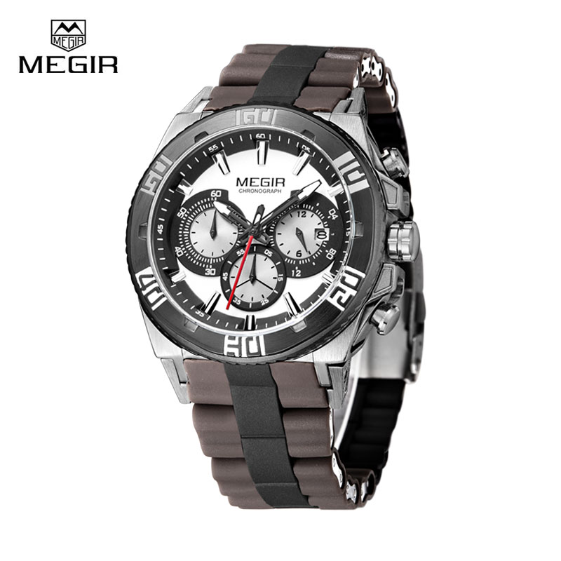 Megir Men's Watch Clock High Quality Man Quartz Sport Chronograph Wrist Watches Silicone Watchband Reloj Hombre women watches wen reloj hombre sport high quality boys girls students time clock electronic digital lcd wrist sport watch 2