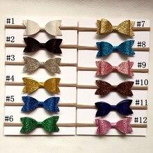 ФОТО baby nylon headbands christmas gifts for girls sequins bow leather heandband with soft nylon hair wears children girls hair bows