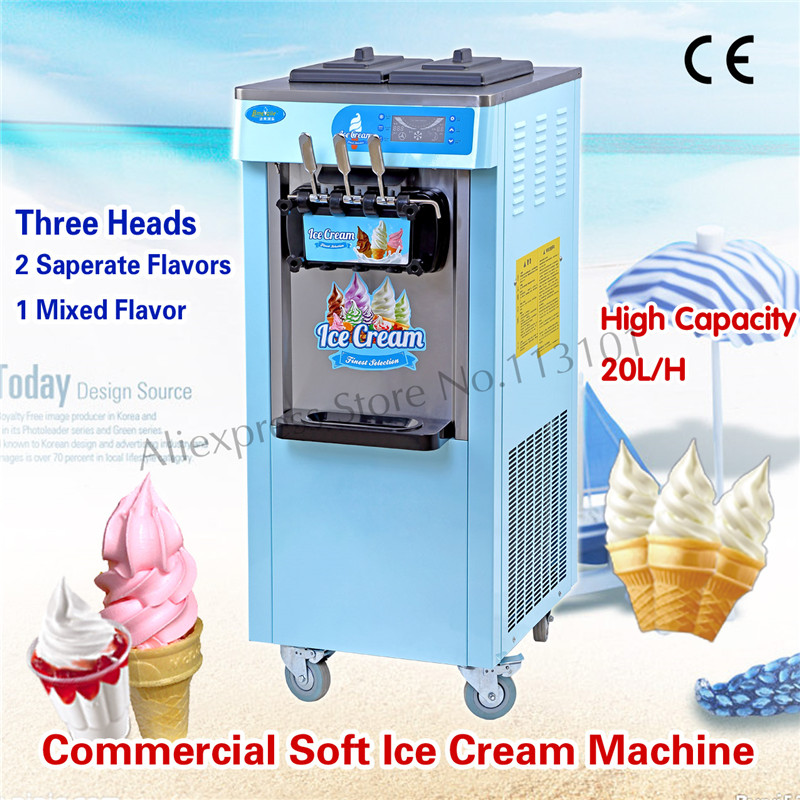 Commercial Ice Cream Machine Vertical Soft Serve Ice Cream Maker Blue & Pink Color 3 Heads 220V Brand New ice maker household ice making machine small commercial ice maker milk tea shop ice machine in red color hzb 12a