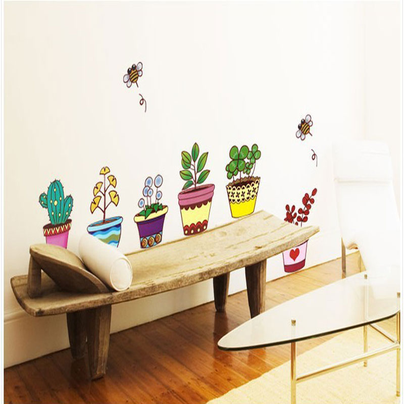 Fast shipping Pot Plant Flower bee Nature Lovely small garden Window Decal Bathroom wall Sticker Decoration Living Room decor in Wall Stickers from Home Garden