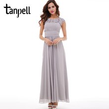 Tanpell bateau evening dress silver appliques lace cap sleeve a line floor length dresses women chiffon ruched long evening gown