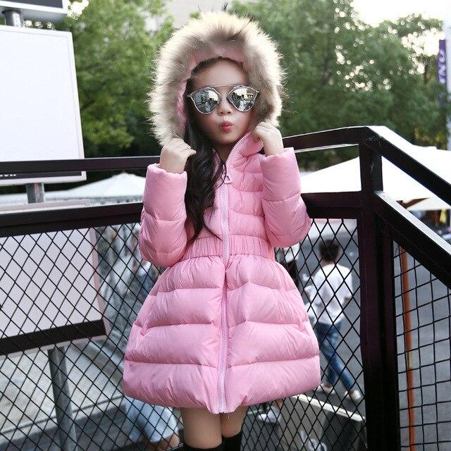 Новый 2016 Детская Куртка Девушки Зимнее Пальто Долго Утка Вниз Толстый Хлопок-проложенный С Капюшоном Зимняя Куртка Для Девочек Теплый ватные Пальто