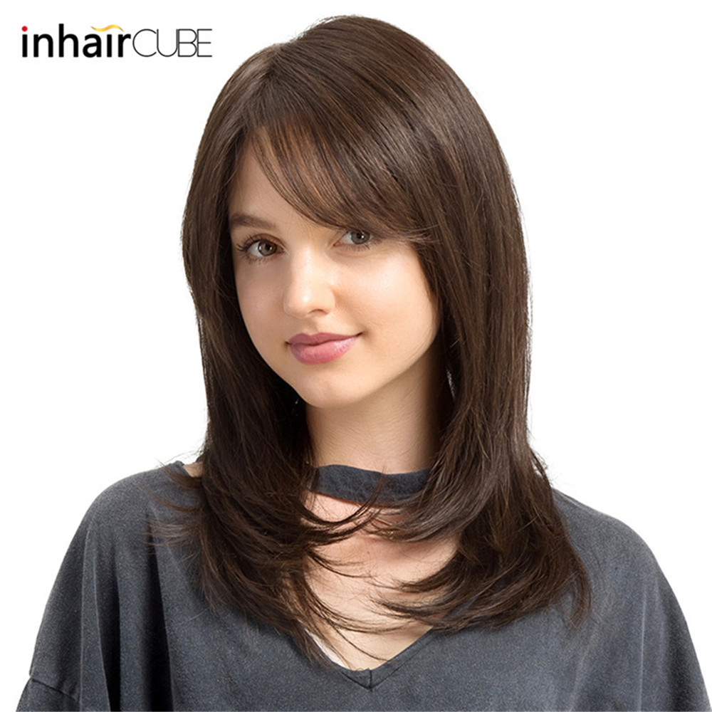 Esin Side Part Synthetic Front Lace Wigs with Bangs Dark Brown Natural Wave Heat Resistant Wig for Women Adjustable Straps title=