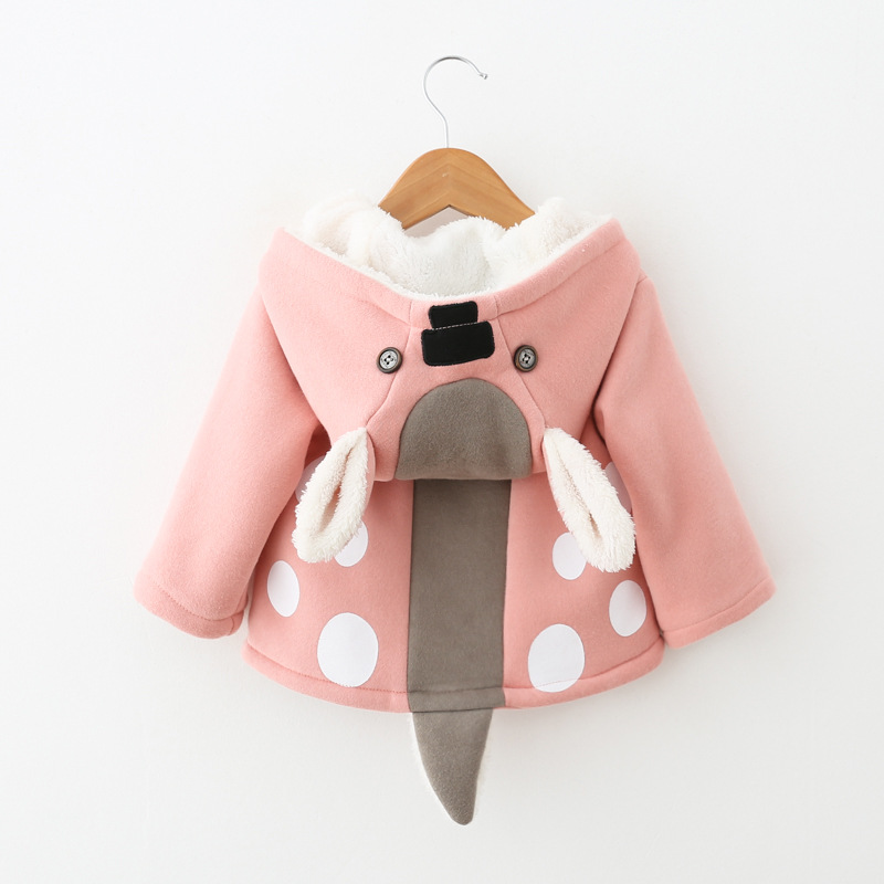 Новорожденных куртки для малышей Одежда для малышек хлопковая верхняя одежда мультфильм прекрасный олень с капюшоном для малышей зимнее п...