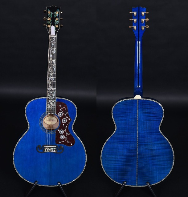 Customized acoustic guitar, J-200 Quilt Vine Viper Blue, Guitarra acustica, free shipping