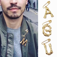 Hot copper gilt jewelry fashion 26 letters brooch pin for men and women
