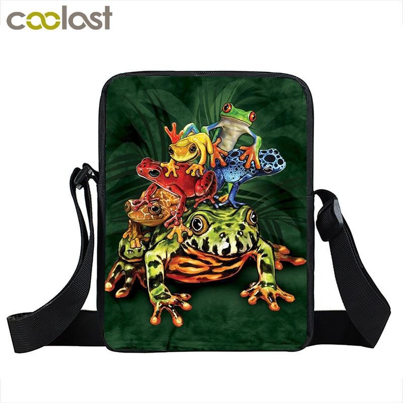 Cool Reptiles Animal Messenger Bag Snake / Cobra / Lizards / Cameleon / Frogs Shoulder Bags Women Handbags Kids Crossbody Bag