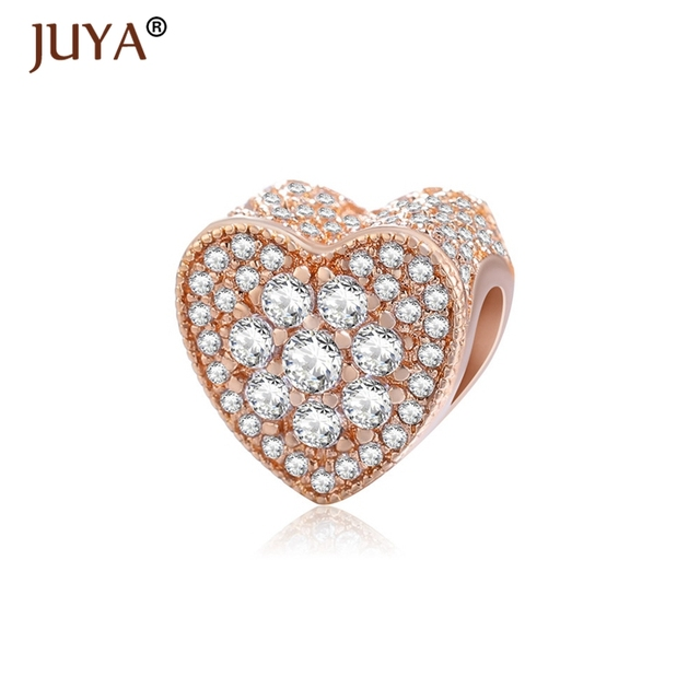 Heart Beads For Jewelry Making high quality copper metal paved AAA zircon  rhinestone charm beads diy original bracelet necklaces 11caaefa64d0