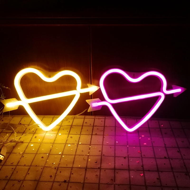 Romantic Heart Shape LED Night Light Wall Hanging Small Neon Lamp Home Wedding Decoration Valentine Gift Light for Girls Couple